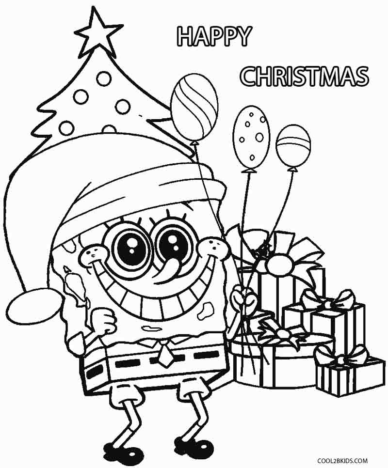 spongebob coloring pages thanksgiving in minecraft | Spongebob Christmas Coloring Pages Free Printable ...