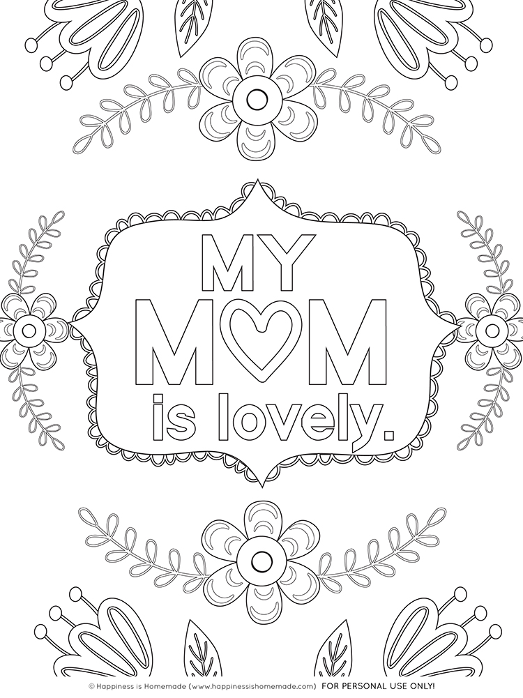 Mother's Day Coloring Pages - Free Printables - Happiness is Homemade