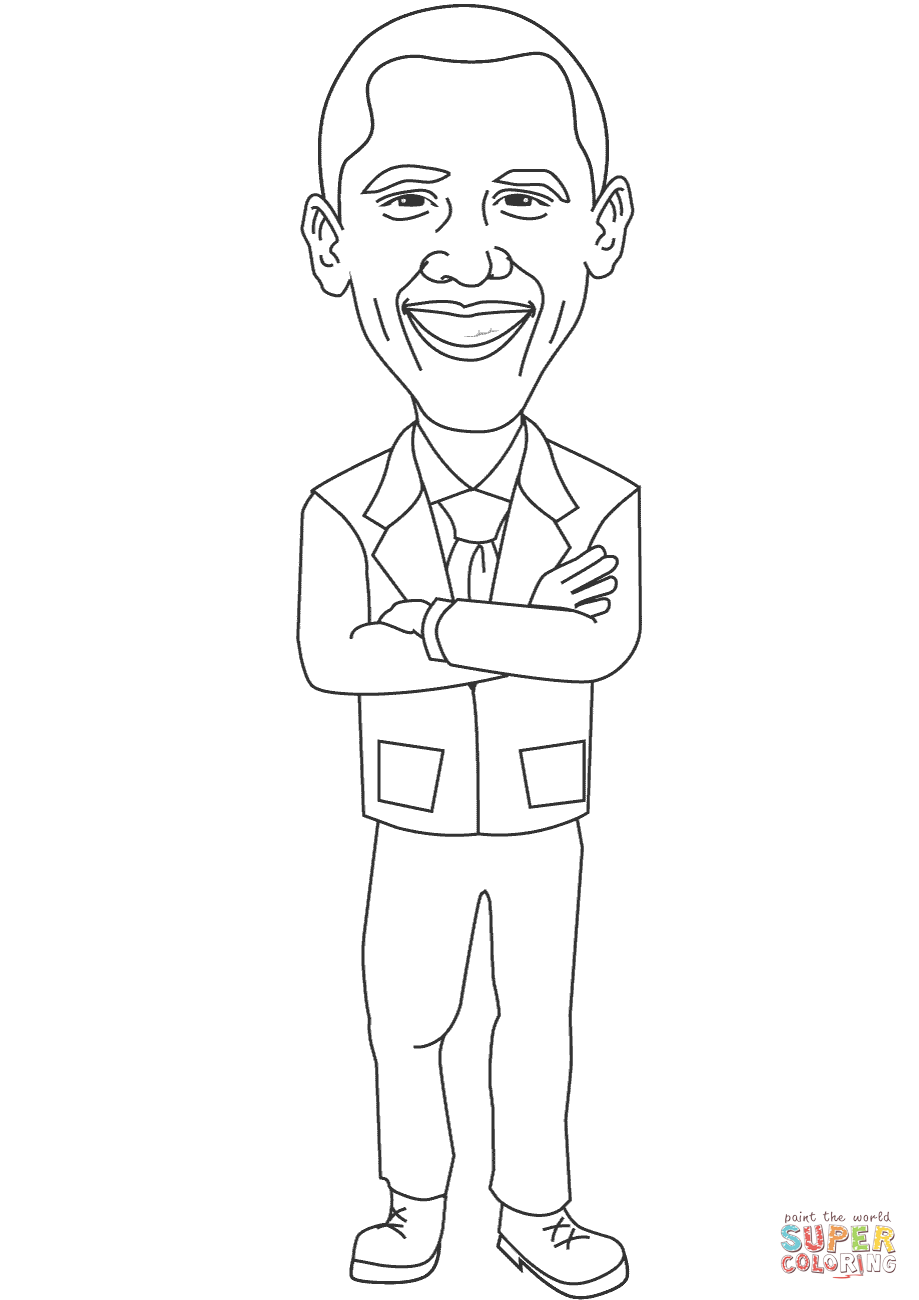 Smiling Barack Obama coloring page | Free Printable Coloring Pages