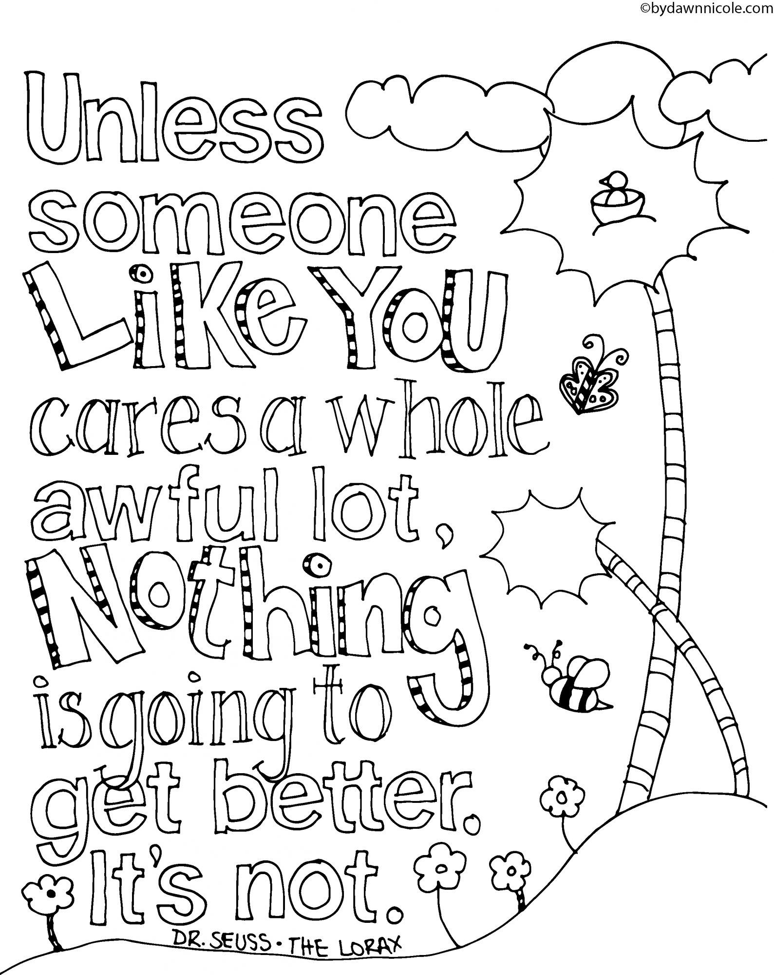 Lorax Coloring Page Coloring Home