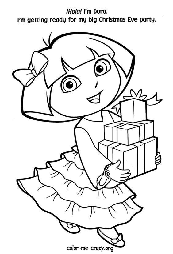 Dora Christmas Coloring Pages Coloring Home