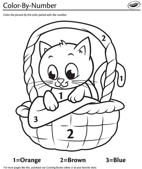 Kitten in a Basket Color-By-Number Coloring Page | crayola.com