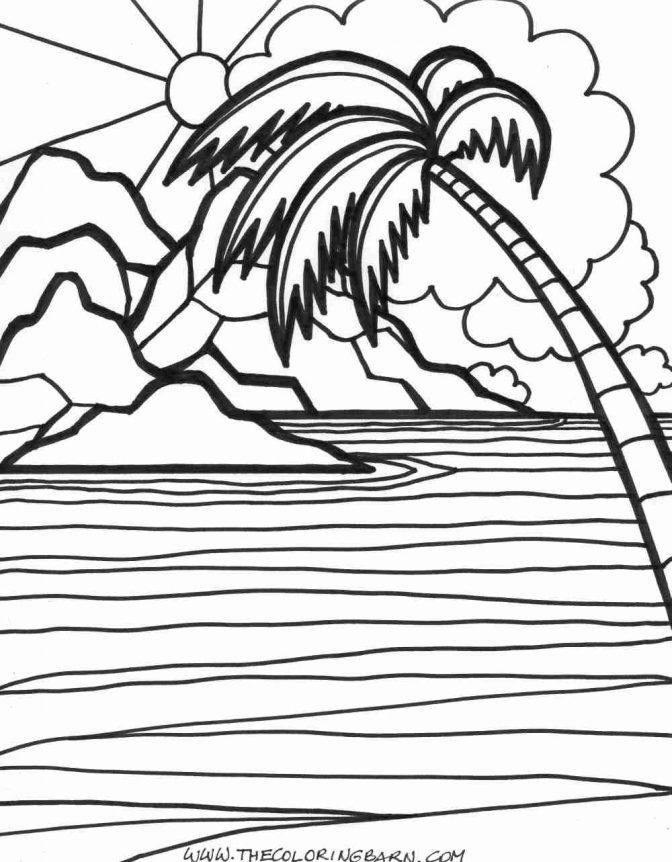 Coloring Pages : 48 Beach Sunset Coloring Pages Photo Ideas - Coloring  Home