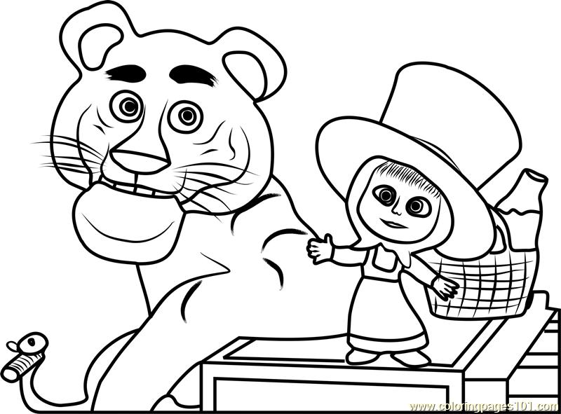 Tiger Coloring Page - Free Masha And The Bear Coloring Pages :  ColoringPages101.com - Coloring Home