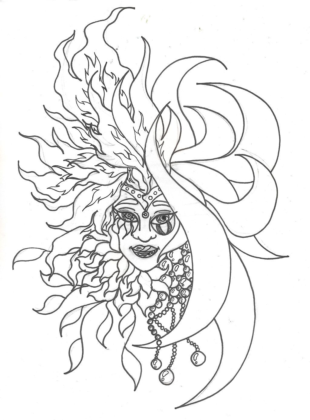 Sun And Moon Coloring Page - AZ Coloring Pages