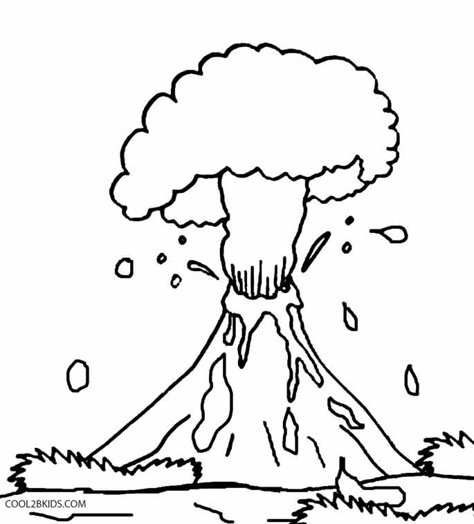 Volcano Coloring Pages Preschool