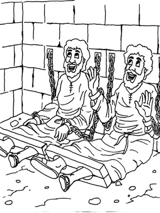 Paul And Silas In Jail Free Coloring