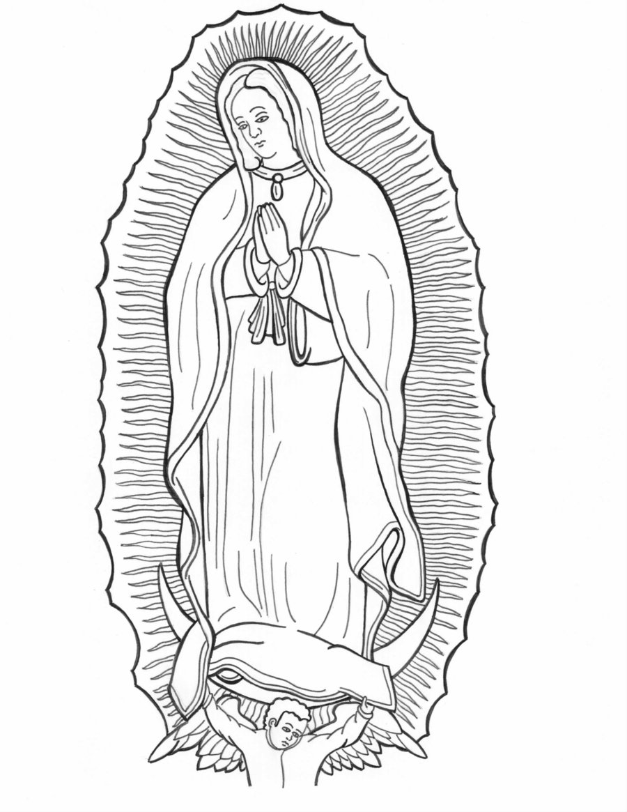 Line Drawing Virgin Mary : Our lady of guadalupe coloring page home