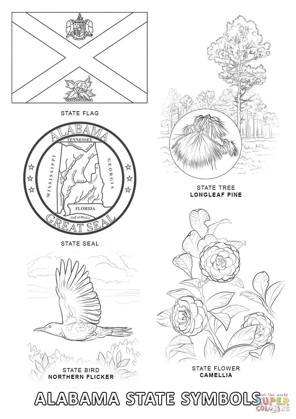 Alabama State Symbols coloring page | Free Printable Coloring Pages
