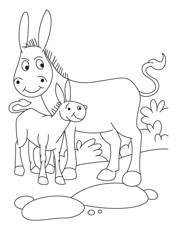 Donkey with foal coloring pages | Download Free Donkey with foal
