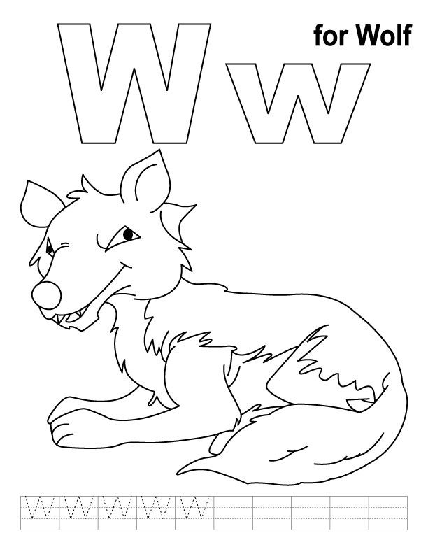 Wolf Coloring Pages Pdf : W for wolf coloring page with handwriting practice