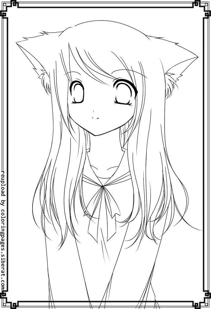 anime cat girl coloring pages to print coloring pages for all ages - Anime Girl Coloring Pages Print
