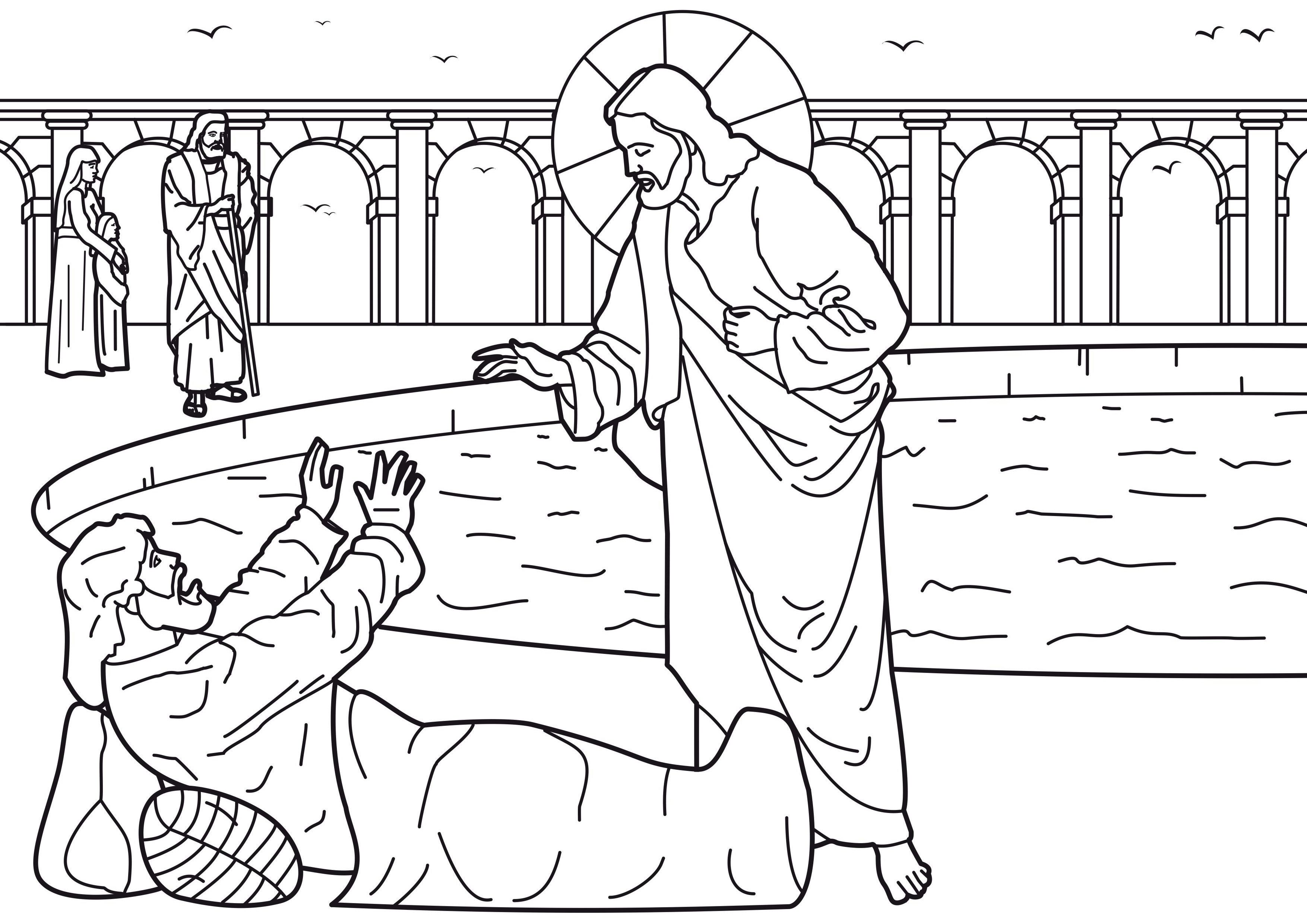 Clip Art Jesus Heals The Paralytic Coloring Page jesus heals a man by the pool coloring page az pages at heals