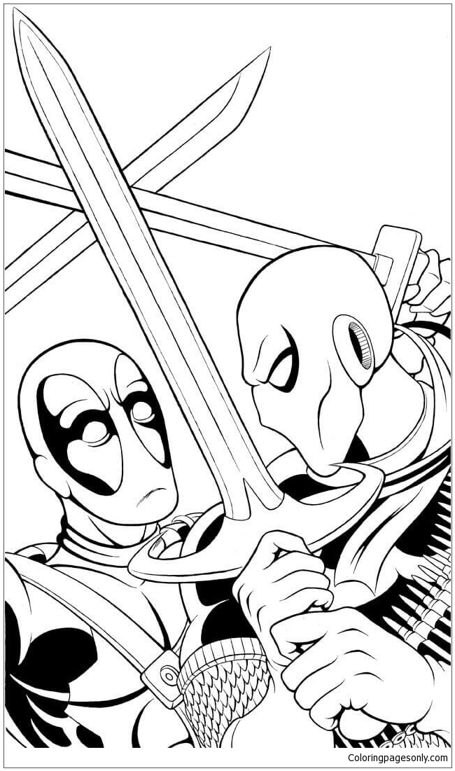 Deathstroke Vs Deadpool Coloring Page Free Coloring Pages Online Coloring Home