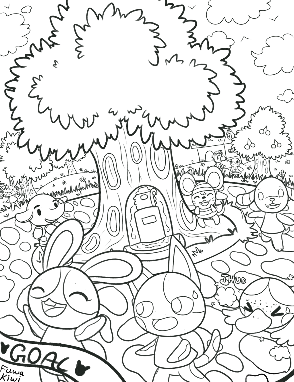 It's just an image of Punchy animal crossing coloring pages