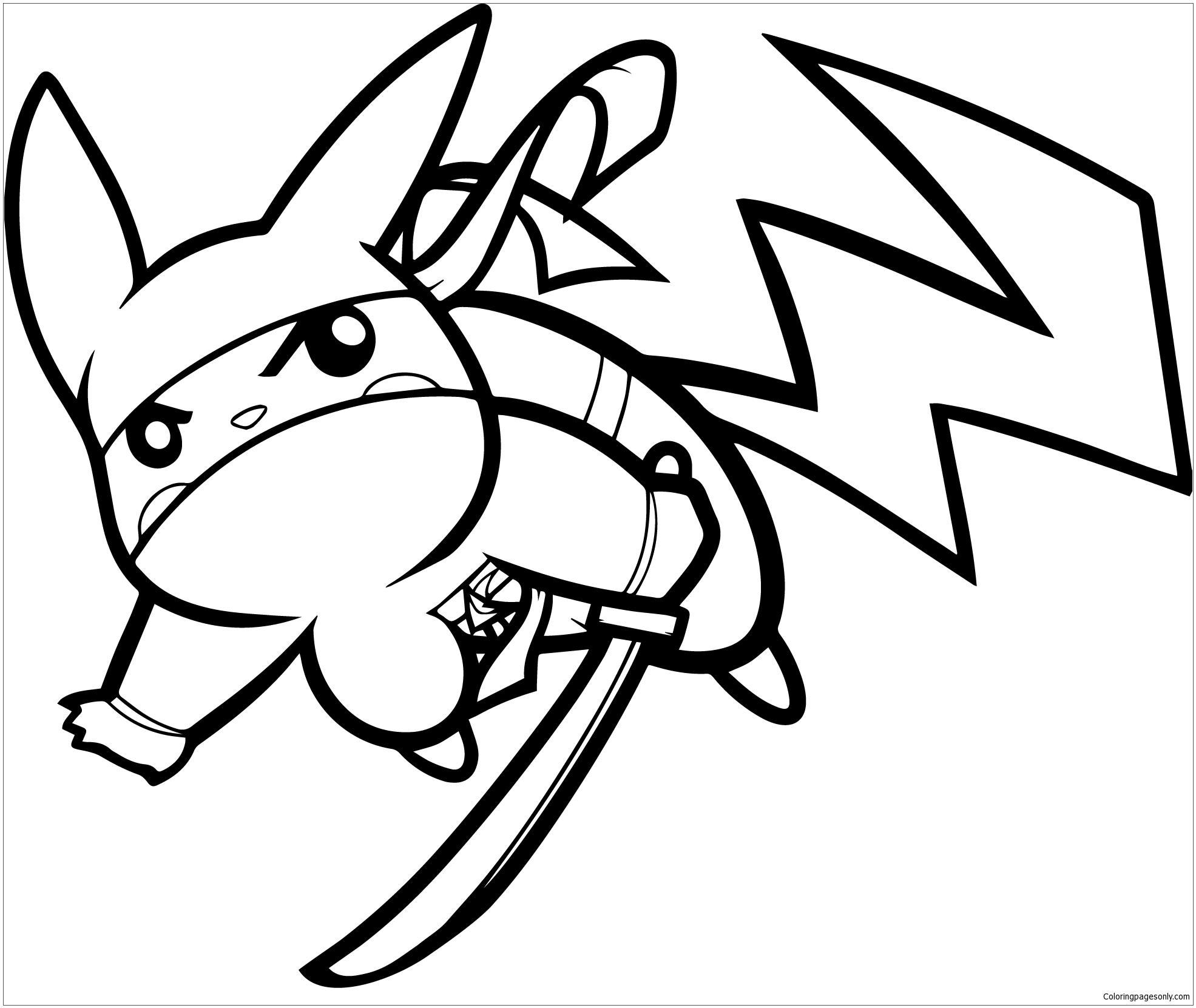 Pikachu Ninja Coloring Page - Free Coloring Pages Online