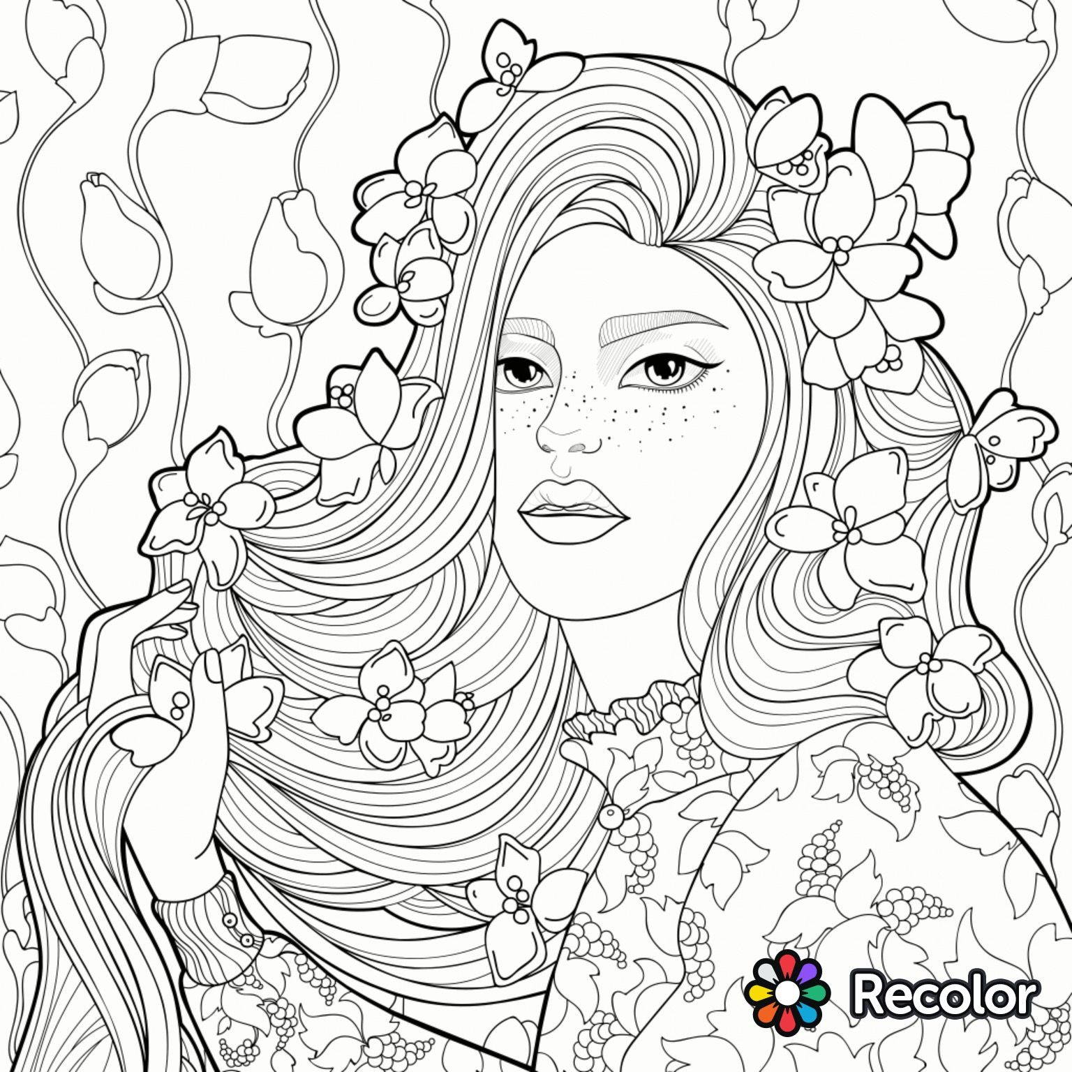 Coloring Pages : Pretty Girlg Pages Cute Anime To Print For ...