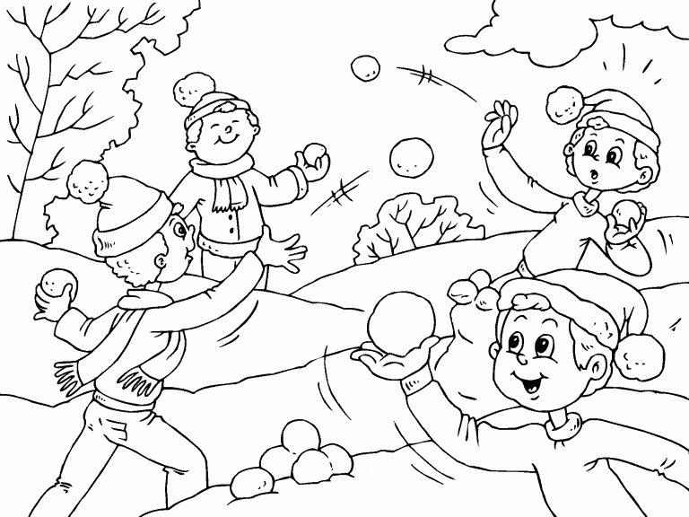 Snowball Fight coloring page - Coloring Pages 4 U