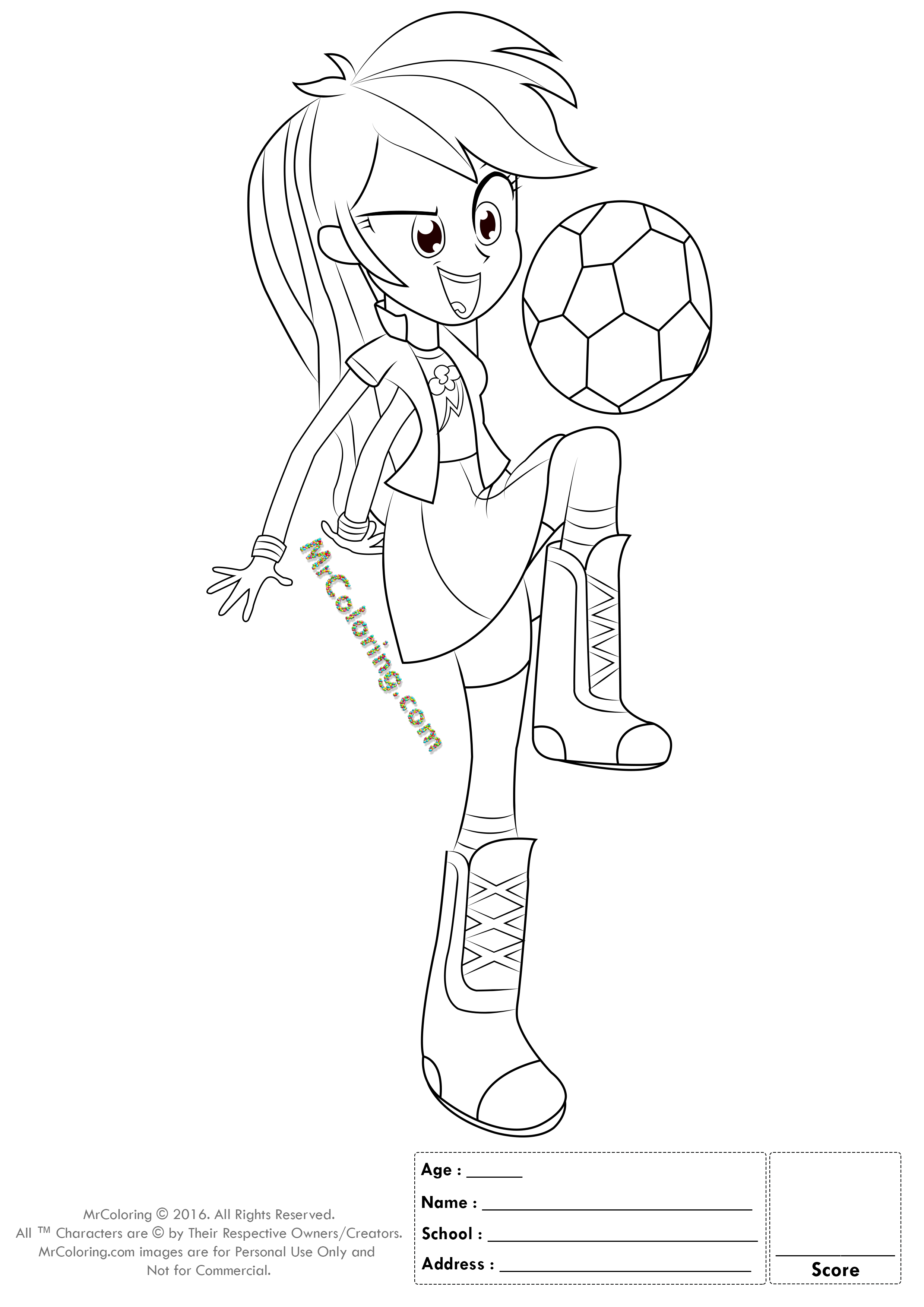 MLP Rainbow Dash Equestria Girls Coloring Pages - 4 | MrColoring.com