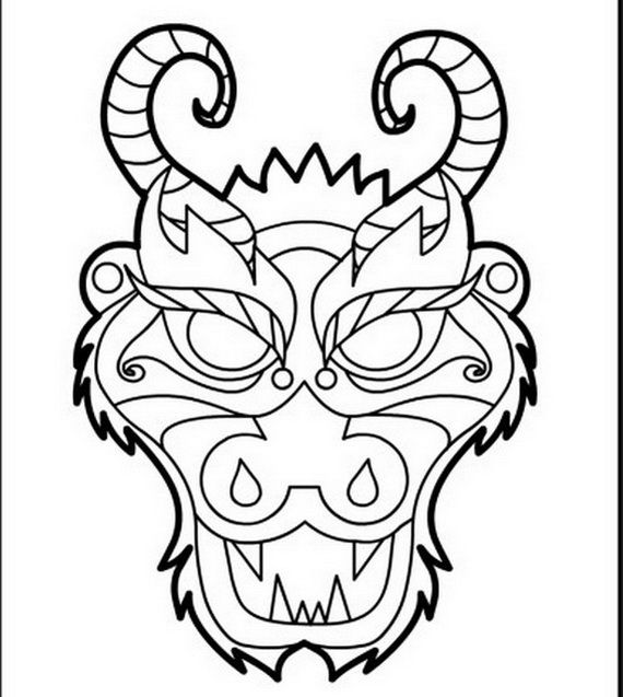 Dragon Face Coloring Page - Coloring Home