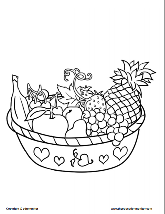 healthy food pyramid with fruit and other coloring pages