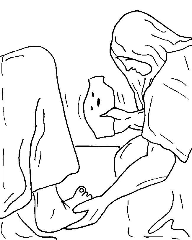 Mary Annoints Jesus Feet Coloring Page