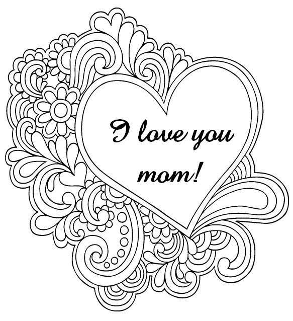 I love you mom coloring pages az coloring pages for Love you coloring pages