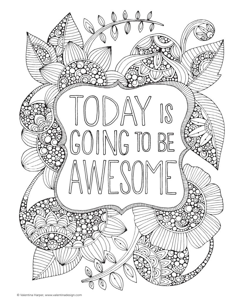 Today Is Going To Be Awesome | Free Printable Adult Coloring Pages