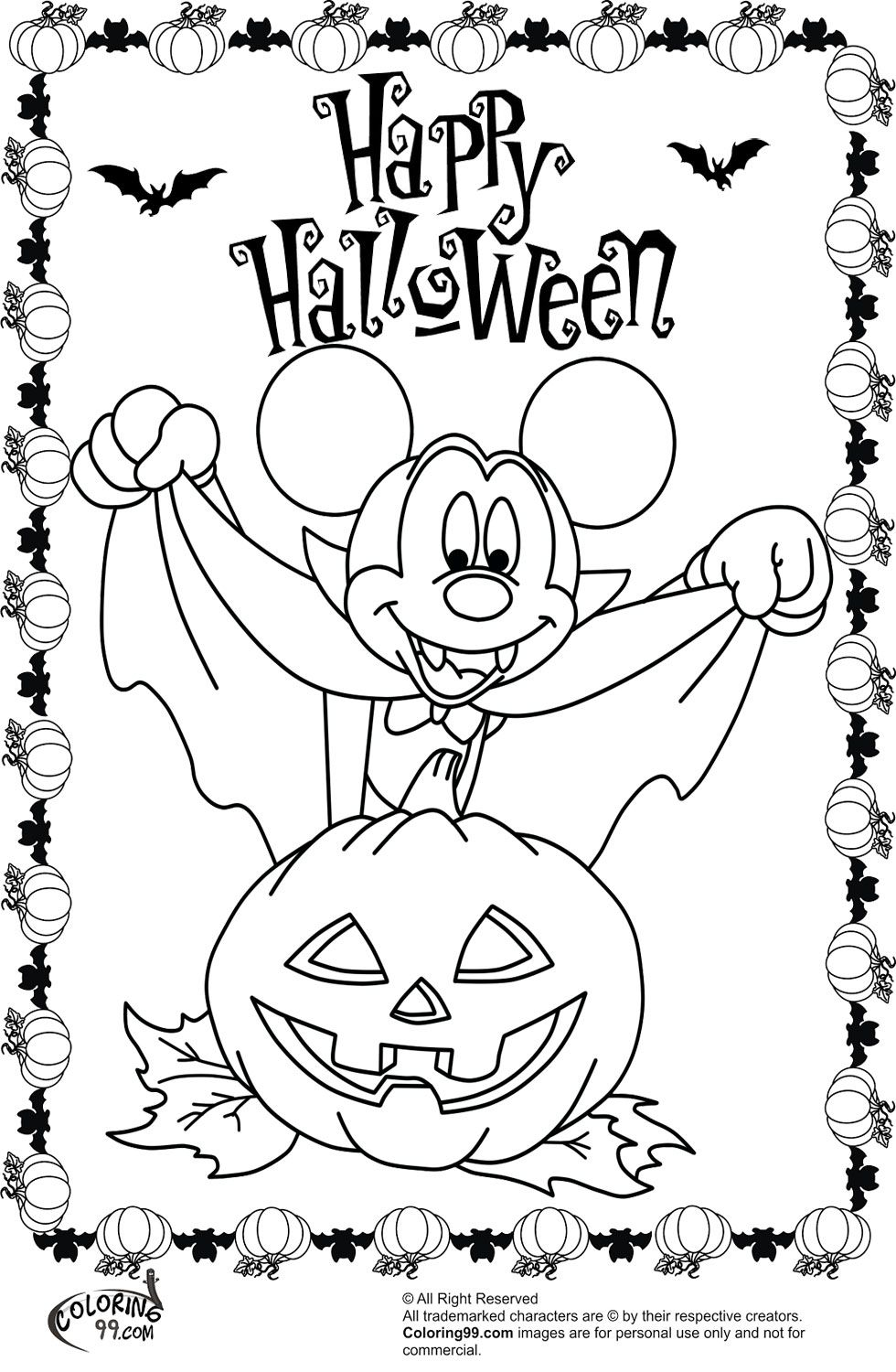 Minnie and Mickey Mouse Coloring Pages for Halloween | Team colors