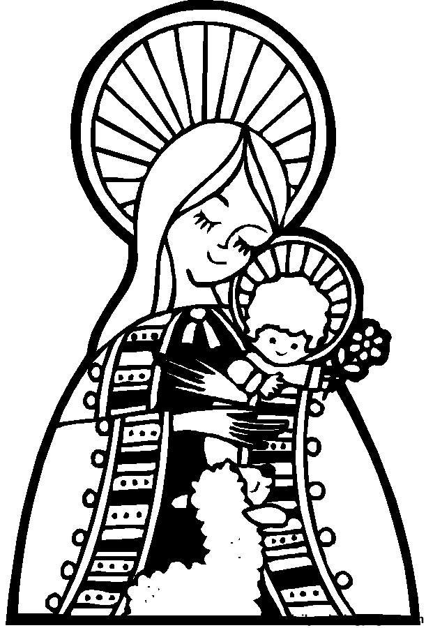mary and baby jesus religious christmas bible coloring pages - Mary Baby Jesus Coloring Page