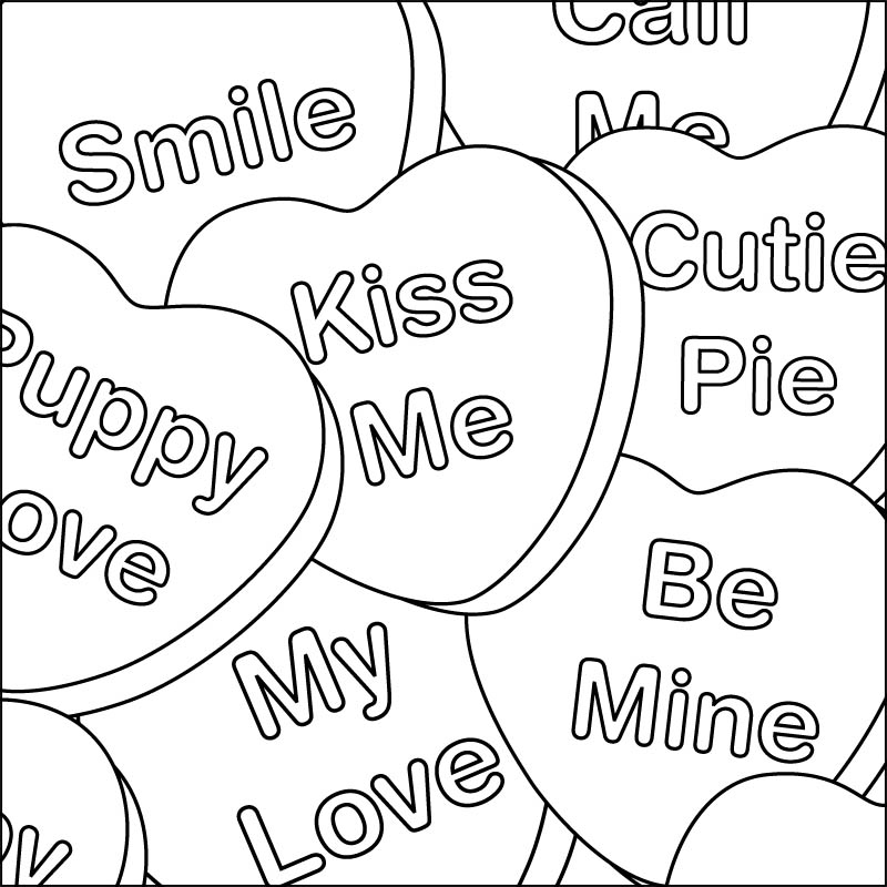 printable conversation hearts coloring pages - photo#17