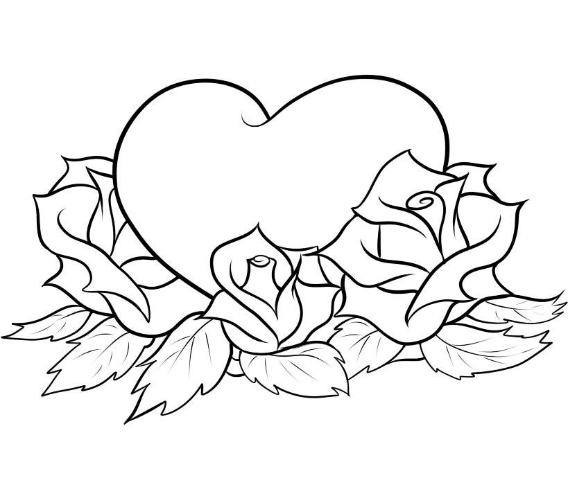 Cool Heart And Rose Drawings Hearts And Roses Coloring Pages