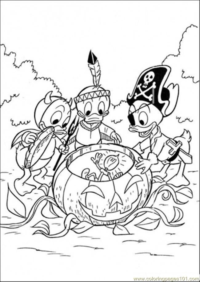 Coloring Pages Halloween (Cartoons > Donald Duck) - free printable