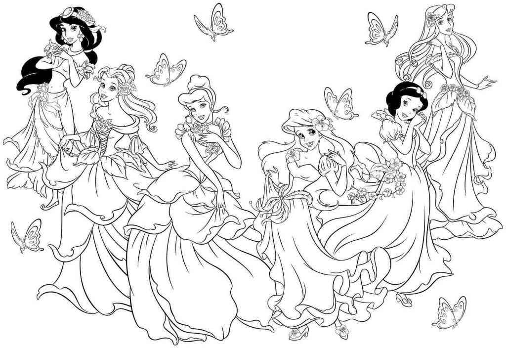 Princess Coloring Pages Coloring Home Free Printable Disney Princess Coloring Pages