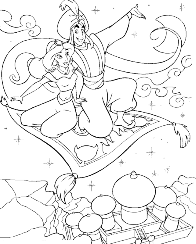 Aladdin and Jasmine on Flying Pillow Coloring Page | Kids Coloring