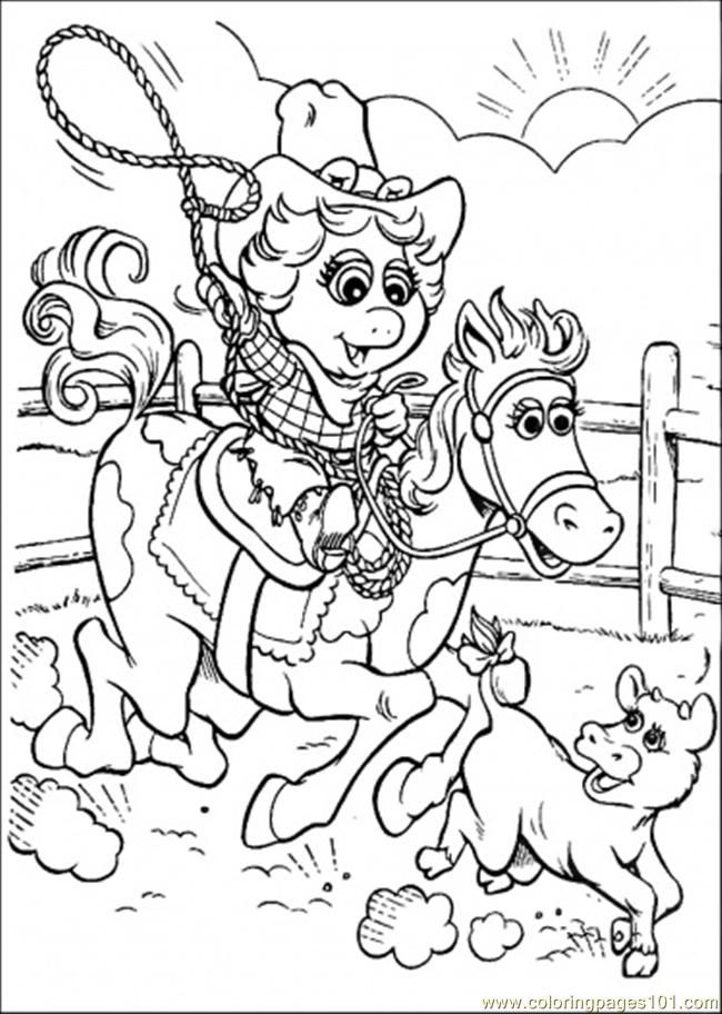 Coloring Pages That Baby Is Riding A Horse (Cartoons > Muppet