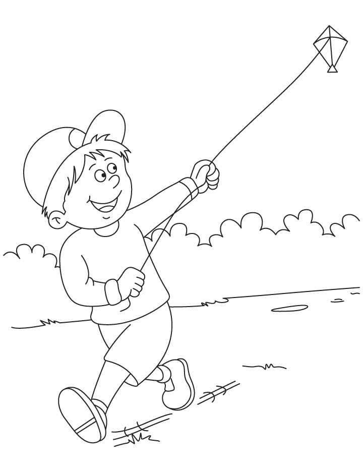 Raju flying a kite coloring pages | Download Free Raju flying a
