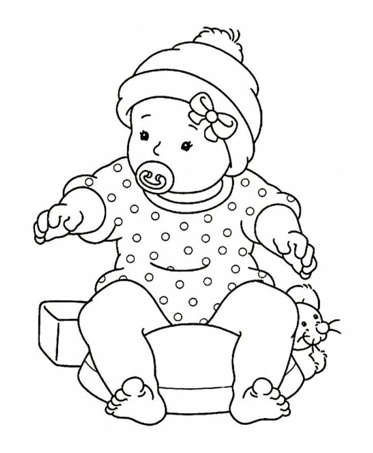 Sitting Baby Drawing Baby Girl Sitting With
