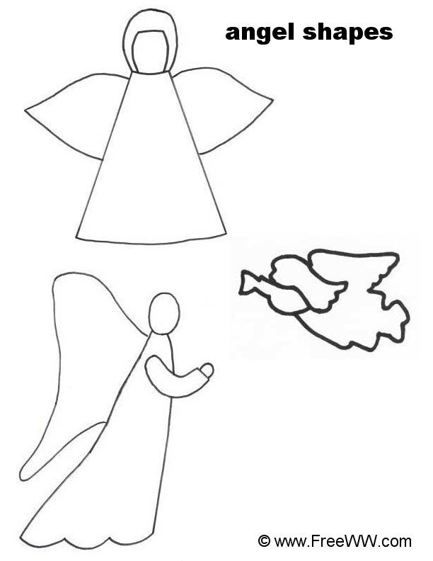Printable christmas angels coloring home for Angel decoration template
