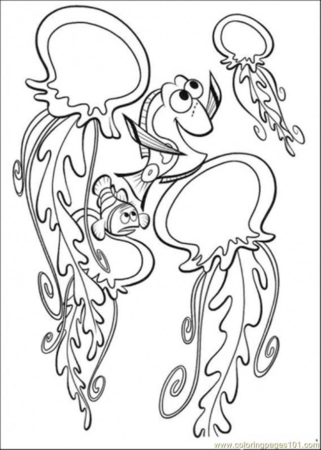 Coloring Pages Playing With Jelly Fish (Cartoons > Finding Nemo