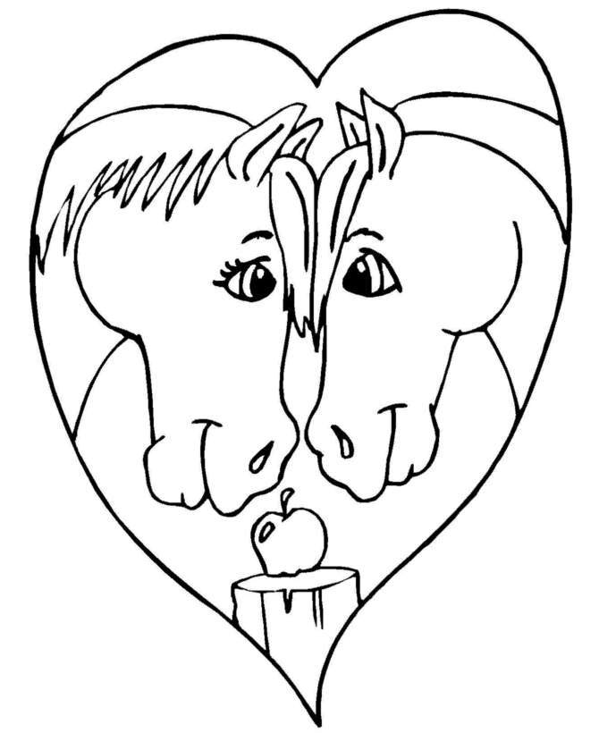 Valentine Horse Heart Coloring Pages