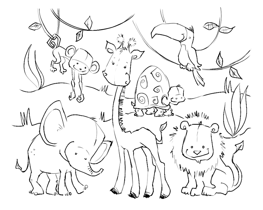 Line Art Jungle Animals : Pictures of jungle animals az coloring pages