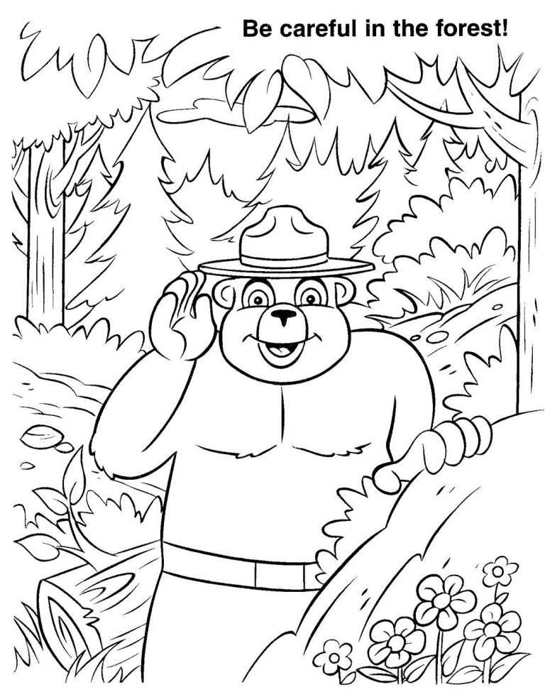 Smokey The Bear Coloring Page Home