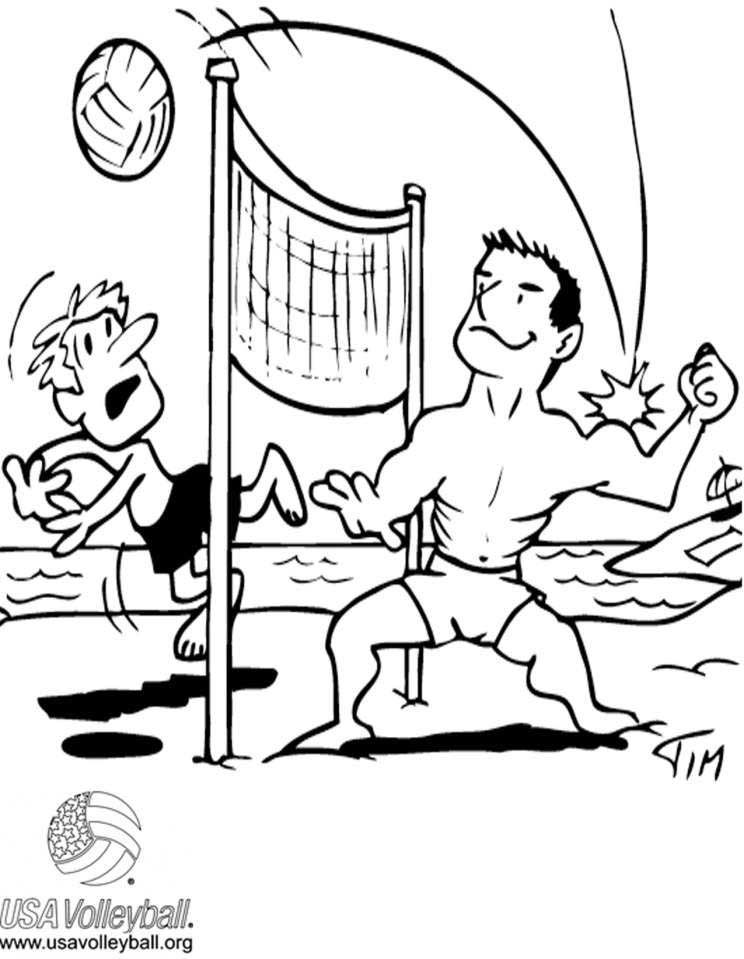Free Coloring Pages Websites : Volleyball coloring page free site az pages