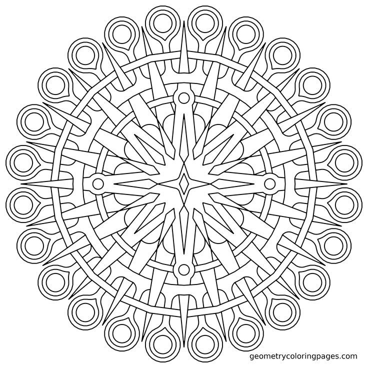 Coloring Page Compass Geometry Mandala Coloring Pages