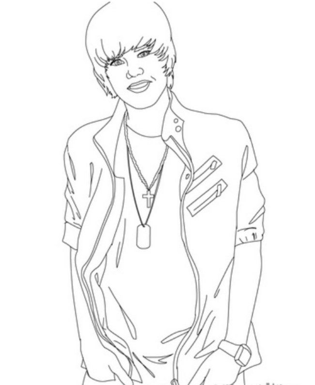 Justin Bieber with Hands in Pockets Coloring Page – Printable