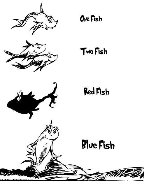One Fish Two Fish Red Fish Blue Fish Coloring Page ...