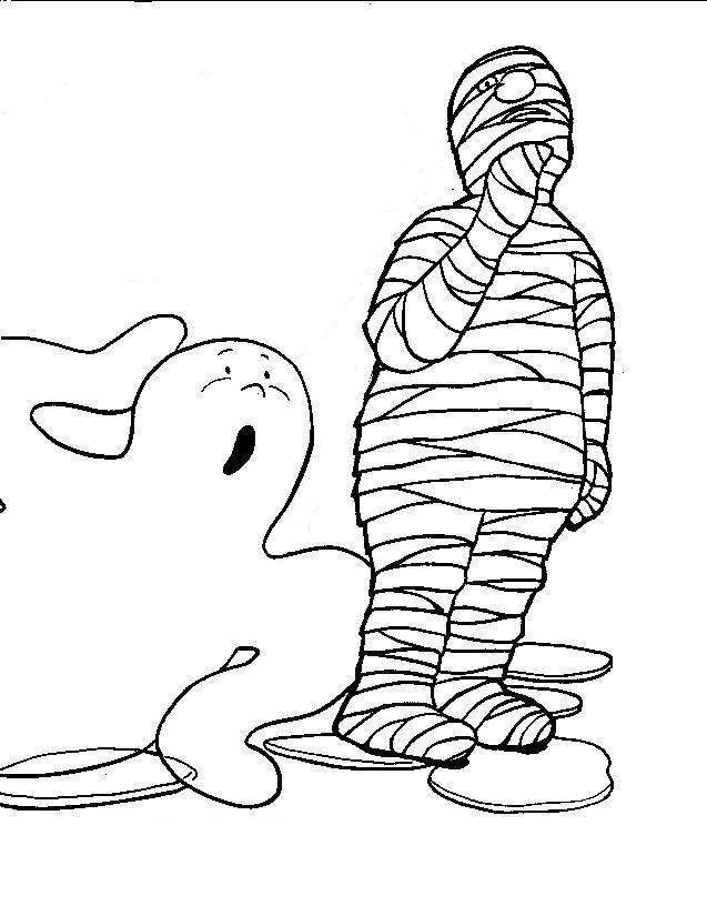 halloween boo and skeleton coloring pages