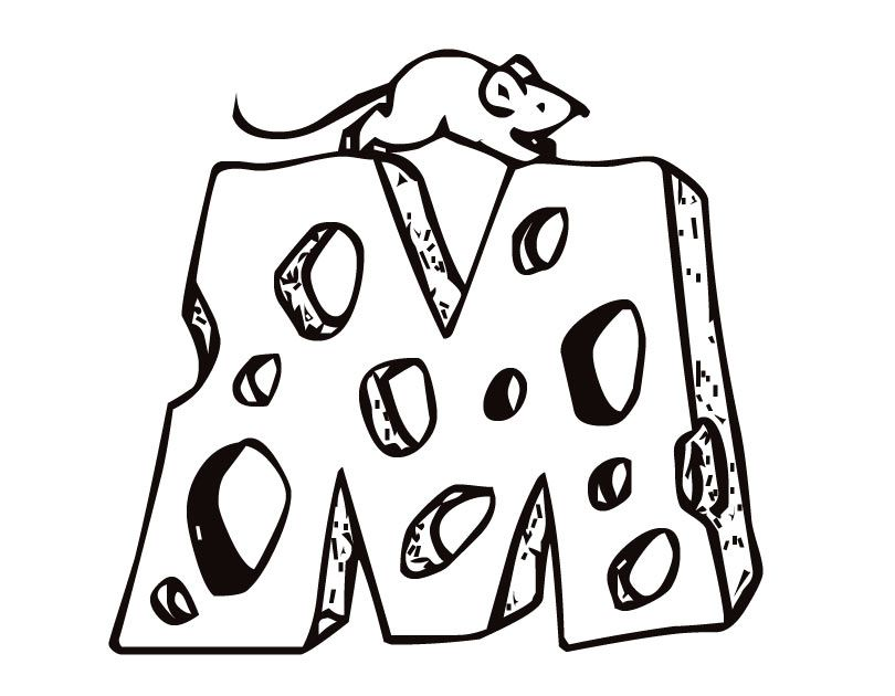 Coloring Pages Animals Mouse Cheese Coloring Home