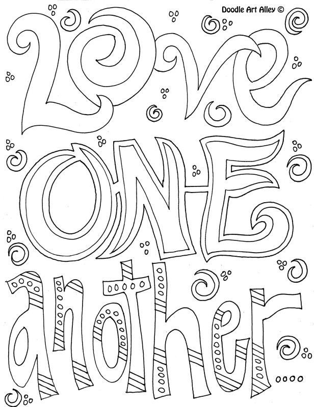 Coloring Page - Love one another. | Coloring Pages~Words